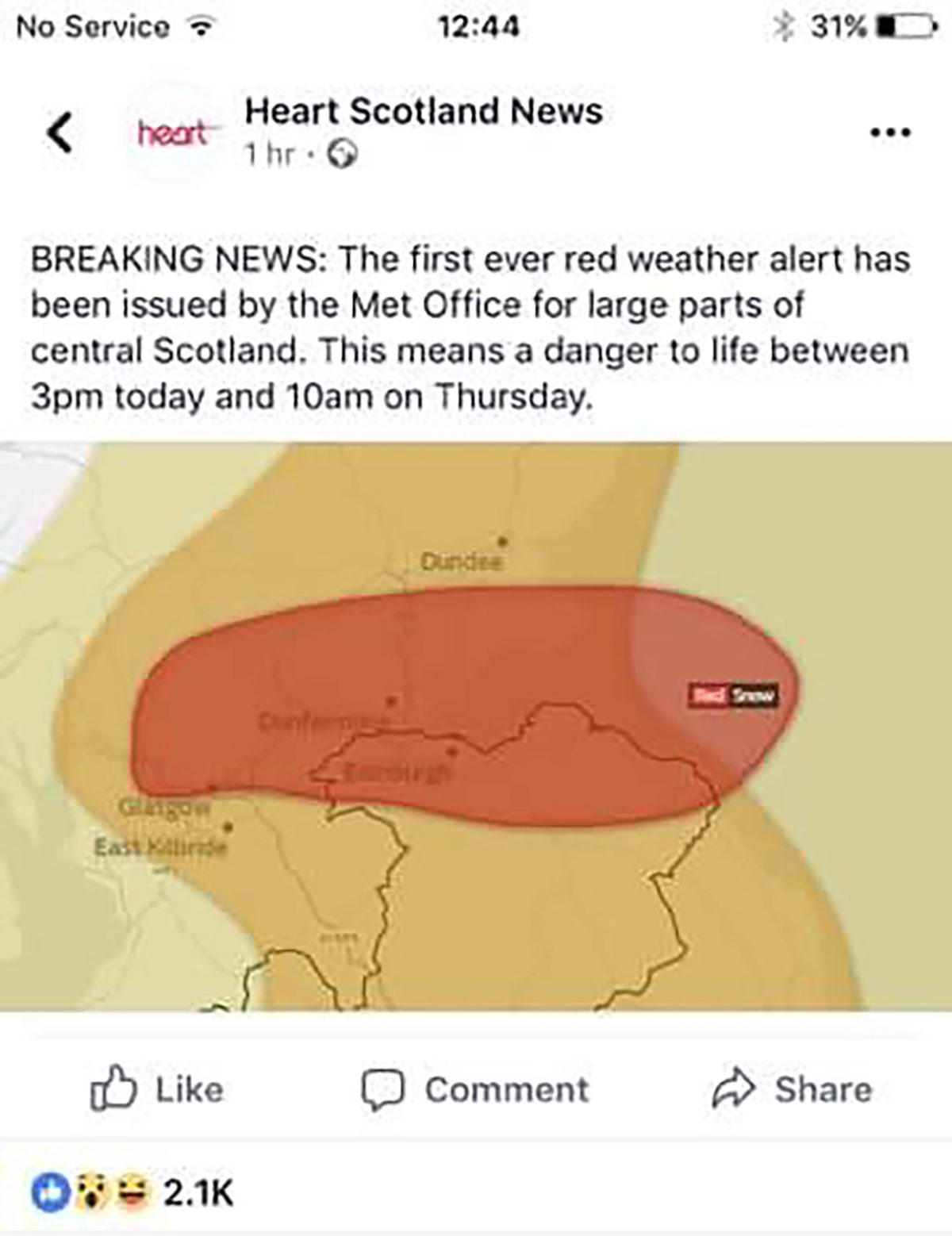 red alert Scotland