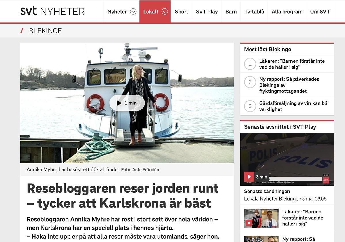 resebloggare annika myhre SVT Blekinge