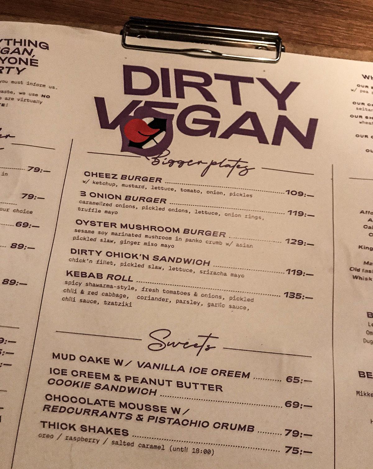 dirty vegan vegansk mat I Stockholm