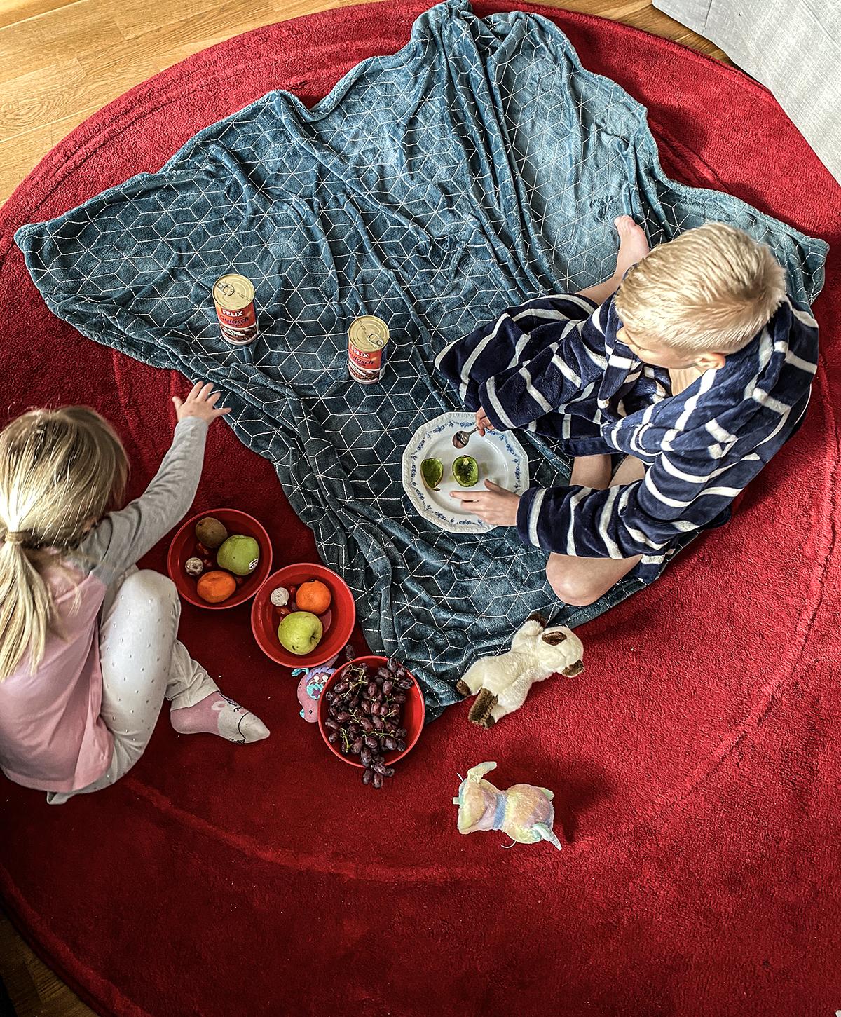 picknick på vardagsrumsgolvet